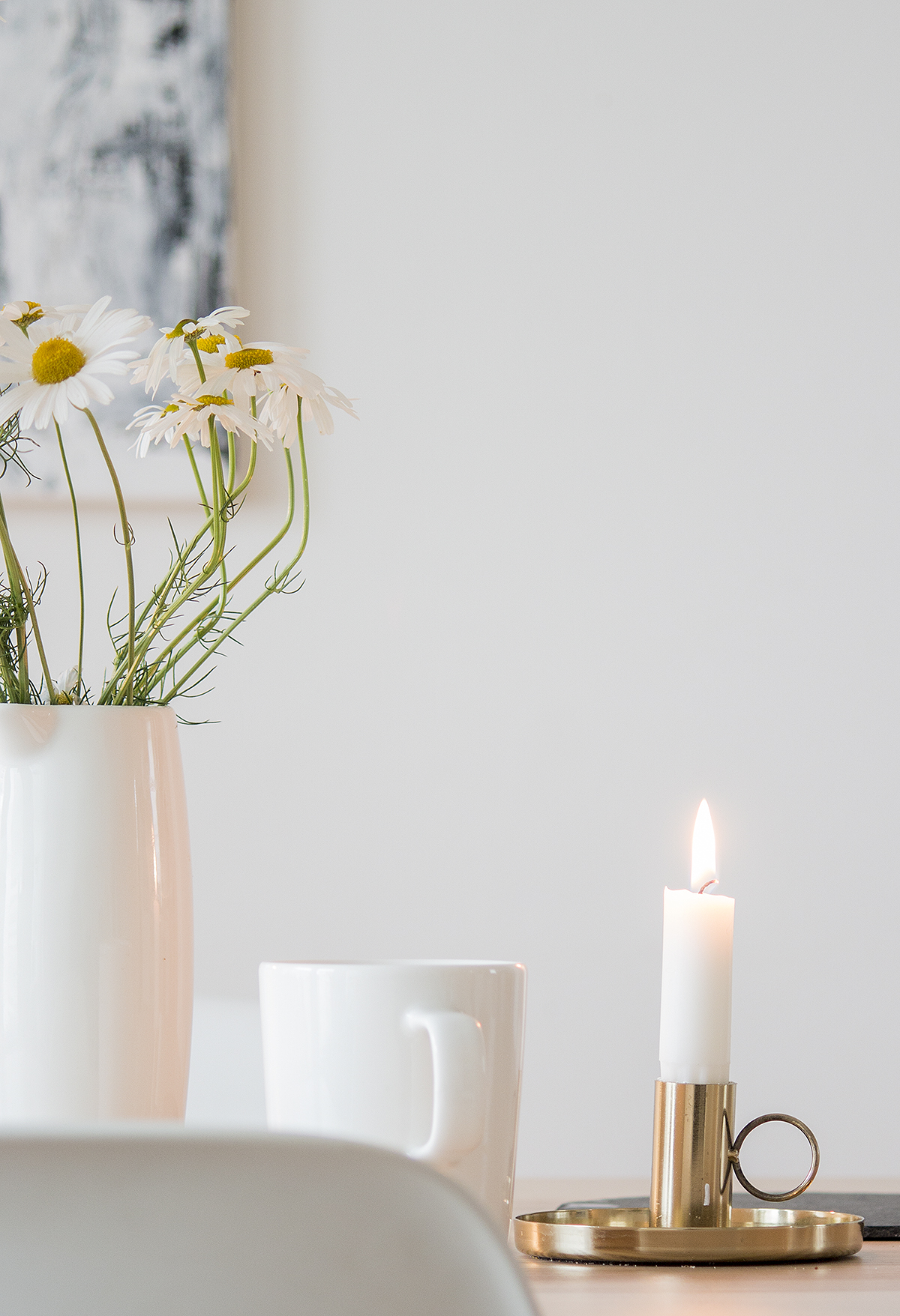 kukat, kynttilä, sisustus